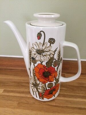 Vintage J & G Meakin Poppy Coffee Pot - Mint
