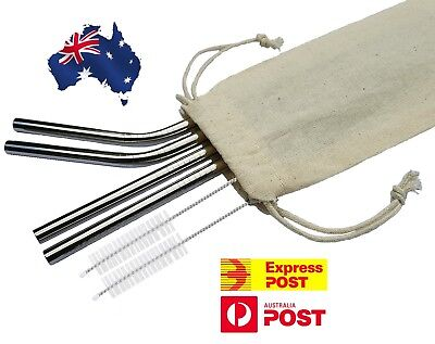 4X Stainless Steel Straws Brush Metal Drinking Straw Bent Reusable WITH POUCH
