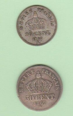 Napoleon III lot of 2 silver coins