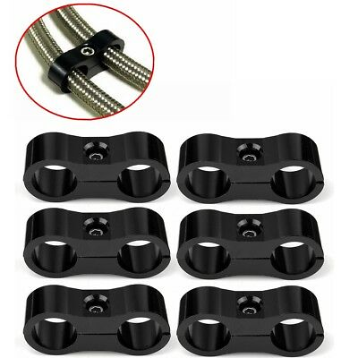 6x CNC AN-6 AN6 13.4MM Braided Fuel Hose Line Separator Clamp Fitting Bracket