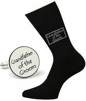 IVORY Round GRANDFATHER OF THE GROOM CUFFLINKS & Black SOCKS Wedding Set