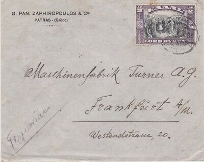 Greece-1924 2 L Lord Byron poet Greek Independence on Patras cover to Germany
