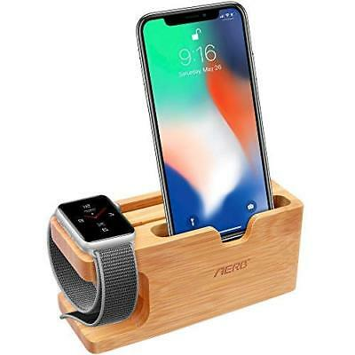 Bamboo Wood Charging Card Slot Phone Watch Stand Bracket Docking Station Cradle