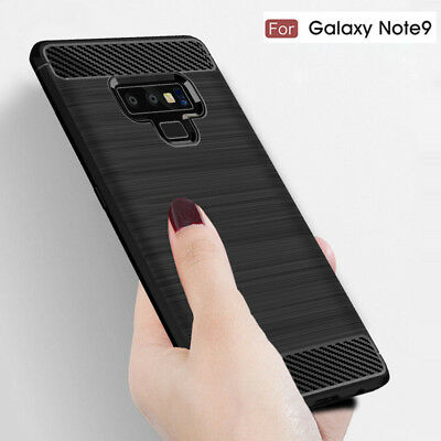 Slim Fiber Carbon Silicone Shockproof Case Cover For Samsung Galaxy Note 9 8 S9+