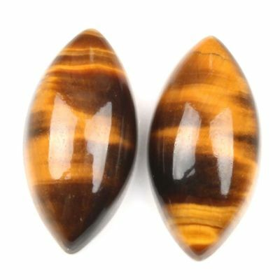 A PAIR OF 16x8mm MARQUISE CABOCHON-CUT NATURAL AFRICAN GOLDEN TIGERS EYE GEMS