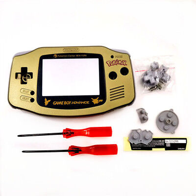 Gold Pokemon Pikachu Edition Housing Shell Case for Game Boy Advance GBA Console
