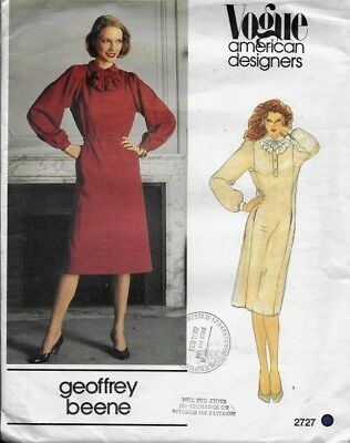Vintage Vogue  Pattern 2727 GEOFFREY BEENE Dress, Belt & Jabot  sz 16