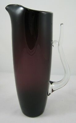 Large Vintage amethyst - blown glass jug with clear handle and polished pontil