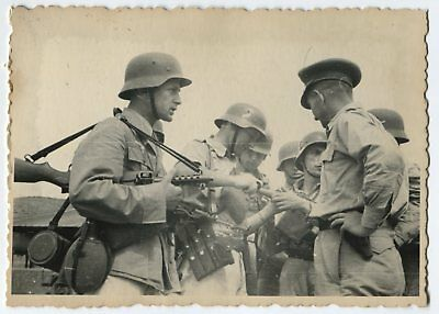 German Wwii Archive Photo: Group Of Soldiers In Helmets