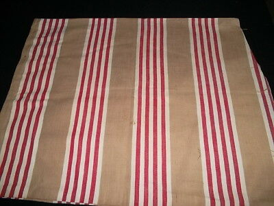 French antique red taupe white stripe linen ticking pillow cover chevron weave