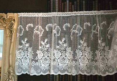 "Vintage ROSE Garden cotton cafe curtain Nottingham lace valance bris-bise 26"" Wh"