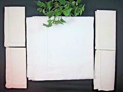 """New Vintage White Linen Table Cloth 4 Napkins Nos 40"""" Square Table Cover"""