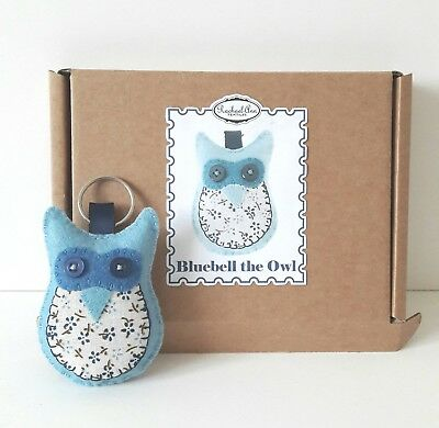 make your own bluebell the owl keyring. felt craft sewing kit