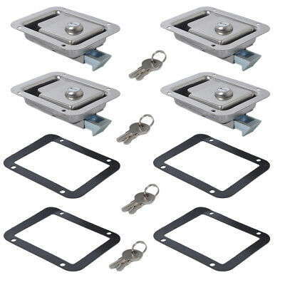 4x Marine Stainless Steel Paddle Latch Truck Trailer Tool Box Lock Latch&Key