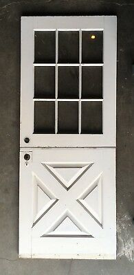 Vtg Solid Wood Dutch Door 9 Lite 80x32 Shabby Cottage Exterior Entry 391-18E