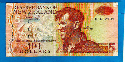 New Zealand P177 5 Dollars SIR EDMUND HILLARY Sign D T Brash 1992 aXF RARE