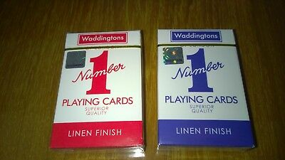Two New Decks of Waddingtons No.1 Classic Playing Cards Red & Blue Poker Game