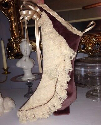 Shabby Chic Stocking Victorian Shoe Mauve Pink Lace Christmas Cottage Home Decor