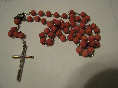 Vintage Coral Carved Beads With Silver Cross Rosary