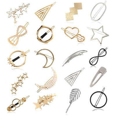 Women Girls Retro Gold Silver Metal Pearl Hair Clip Snap Barrette Claw Hair Pins