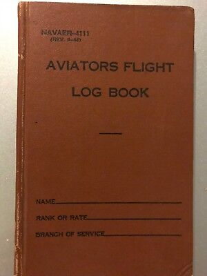 US Naval Aviators Flight Log Book Handwritten pages USN World War I and II