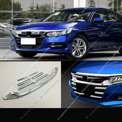 7pcs ABS Chrome Front Bumper Grill Grille Cover Trim For Honda Accord 2018-2019