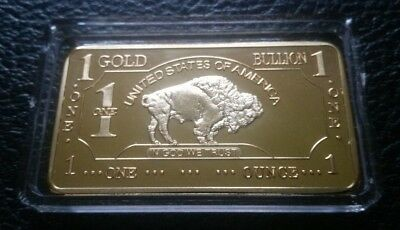 1 OZ 100 Millls .999 Fine Gold Buffalo Bar Bullion CHRSITMAS SALE!!