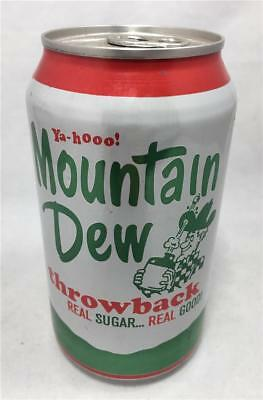 Throwback MOUNTAIN DEW Soda Can Full 12 Oz Unopened Soft Drink Real Sugar 44g