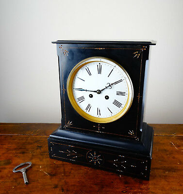 Antique Victorian French Mantel Clock in Polished Black Slate Bell Chiming 8 Day