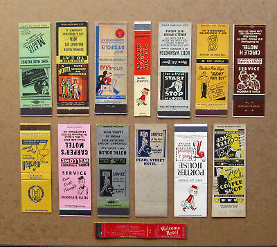 14 Diff Bellboys , Hotel, Motel Themed Matchcovers