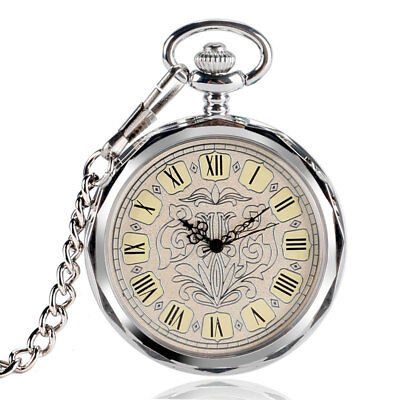 Antique Roman Numerals Silver Women Hand Winding Mechanical Pocket Watch Chain