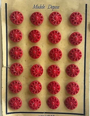 """Vintage Buttons - 1940's 24 Red Carved Casein 11/16"""" Shank Buttons"""
