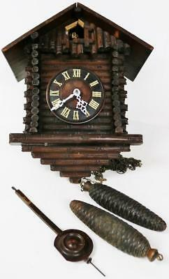 Antique Black Forest Twin Weight Striking Log Cabin Carved Cuckoo Wall Clock