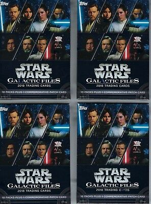 (4) 2018 Topps Star Wars Galactic Files Cards 81ct Blaster Box LOT - Patch Cards