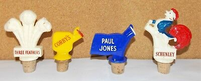 4 1950's Plastic Whiskey Bottle Advertising Pourer Schenley Corby's Paul Jones