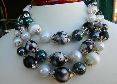 Vintage 1960's Japan 3 strand necklace Iridescent Black & White Beads