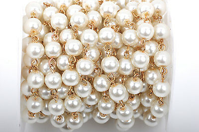 1yd Ivory Cream Pearl Rosary Chain, Gold wire, 8mm round glass beads fch0426a