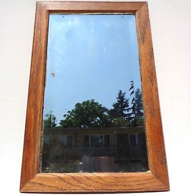 ANTIQUE VINTAGE OAK MISSION ARTS CRAFTS 1920s 1930s 1940s MIRROR WALL BEVELED