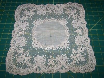 Very Old Embroidered on Net Lace Doily or Hankie