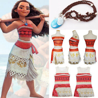 Kids Costume Disney Moana Princess Girl Cosplay Fancy Dress Necklace Clothes Set
