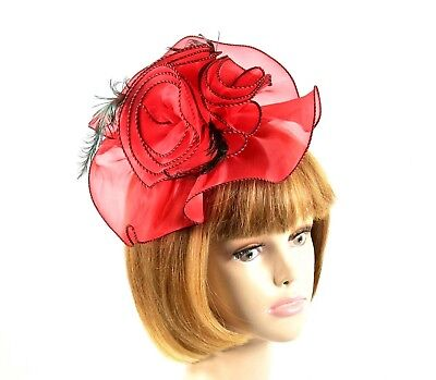 Red Chiffon Swirl Fascinator Curled Rooster Tail Feathers Hat Society Ladies