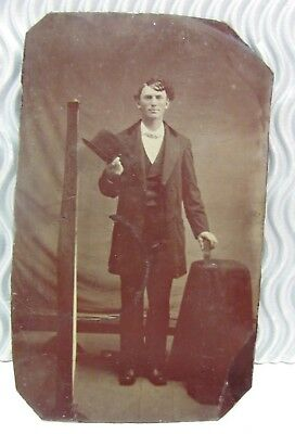 Sale 💕Rare Antique Vintage Tintype Photo Tall Man Magician Traveling Man ? 💕