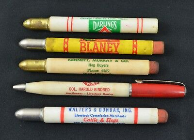 5 Vintage Advertising Bullet Pencils Livestock Ads Midwest Farm