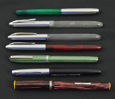 Lot of 7 Vintage Fountain Pens Estebrook Sheaffer Some For Parts
