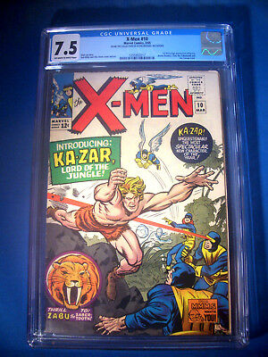 1965 * X-MEN #10 * Marvel Comics CGC 7.5 VF- * Rare WHITE Pages * FIRST KA-ZAR !