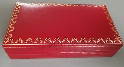 Vintage AUTHENTIC Must de CARTIER Santos RED LEATHER SUNGLASSES HARD BOX CASE