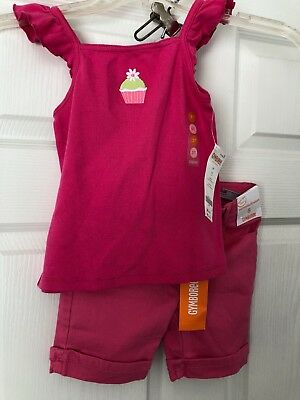 2 pcs NWT Gymboree Girls Pink ruffled shirt & pink Bermuda-fit shorts, size 5
