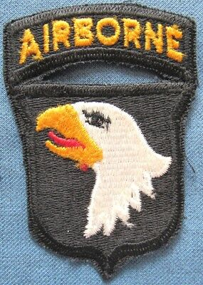 "WWII US Army 101st Airborne Division shoulder patch w/attached ""AIRBORNE"" tab"