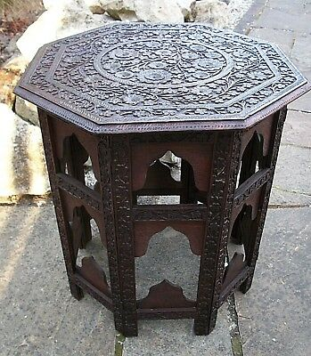 Large Antique Octagonal Anglo/indian  Folding  Wooden Side Table