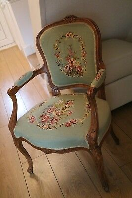 Vintage Louis XV style French carved needlepoint armchair